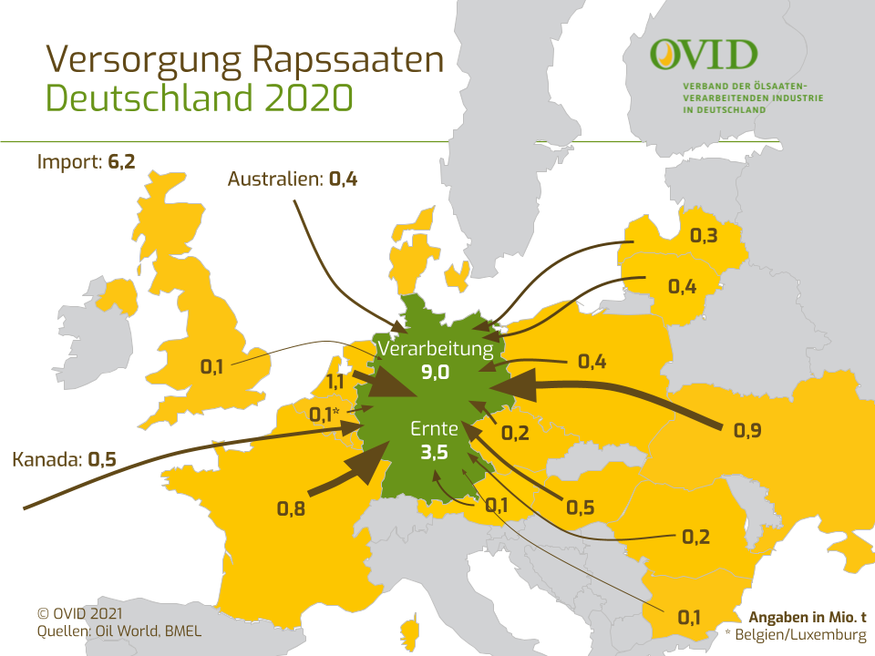 Grafik: Versorgung Rapssaaten Deutschland 2020